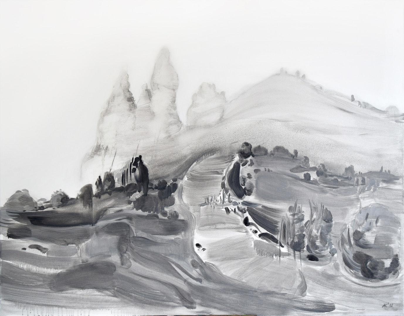 'Island III', Asta Kulikauskaite-Krivickiene, Oil on canvas, 70 x 90 x 2 cm