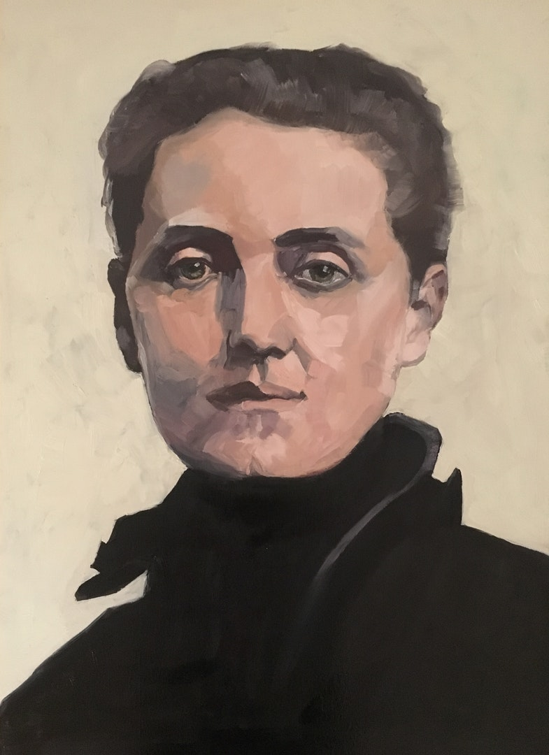 'Jane Addams', Barbara Henkes, Oil on canvas board, 70 x 50 cm