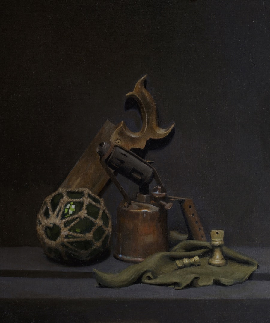 'Composition with blowtorch', Ben Laughton Smith, Oil on linen, 70 x 60 x 4 cm