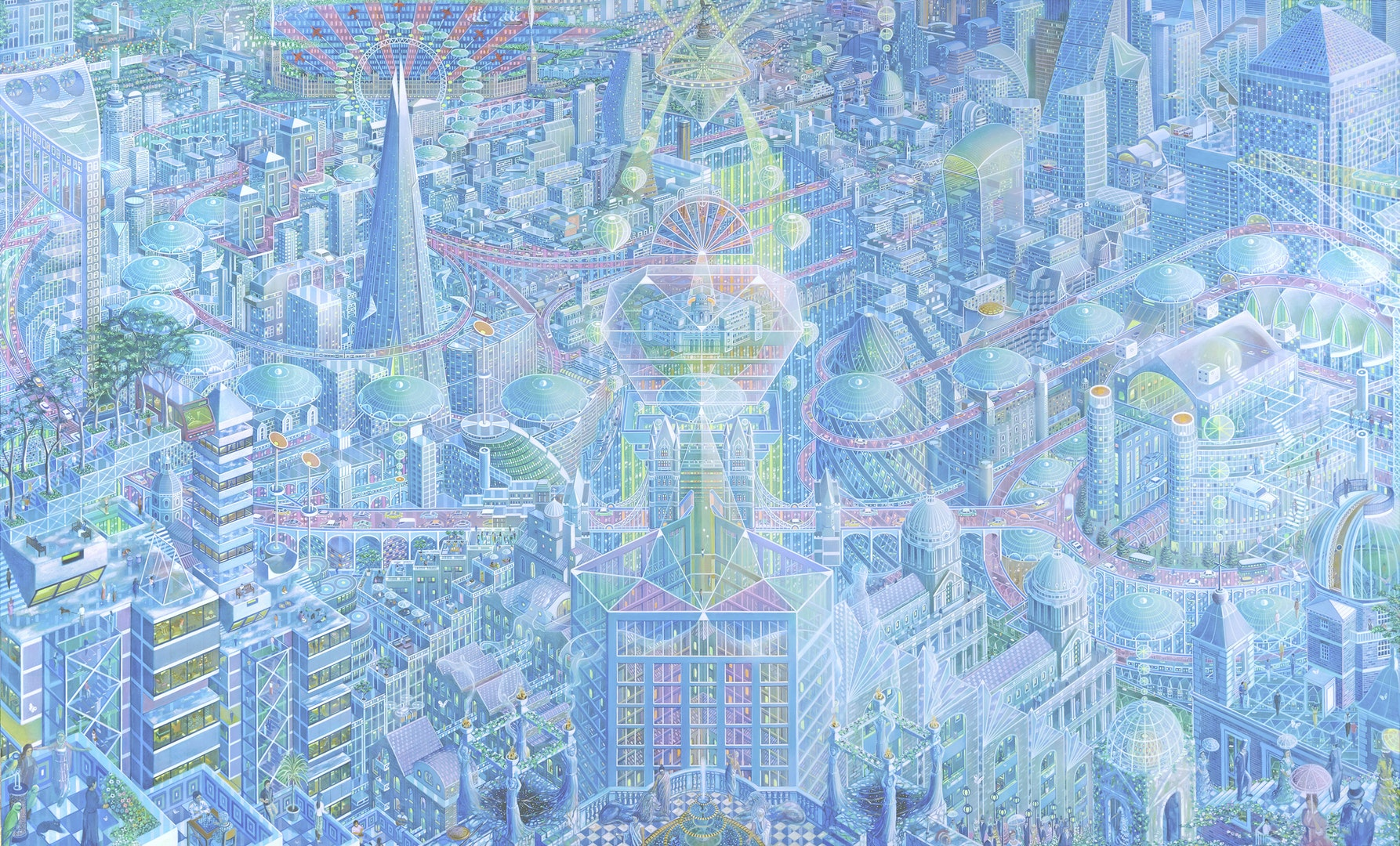 'Metropolis London', Caio Locke, Acrylic on canvas, 155 x 255 x 5 cm