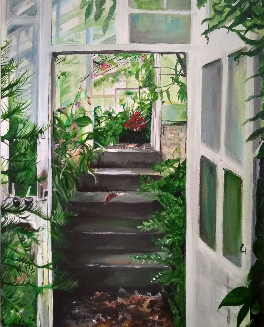 'The Greenhouse', Caitlin Noble, Acrylic on canvas; Oils on canvas board, 50 x 40 cm