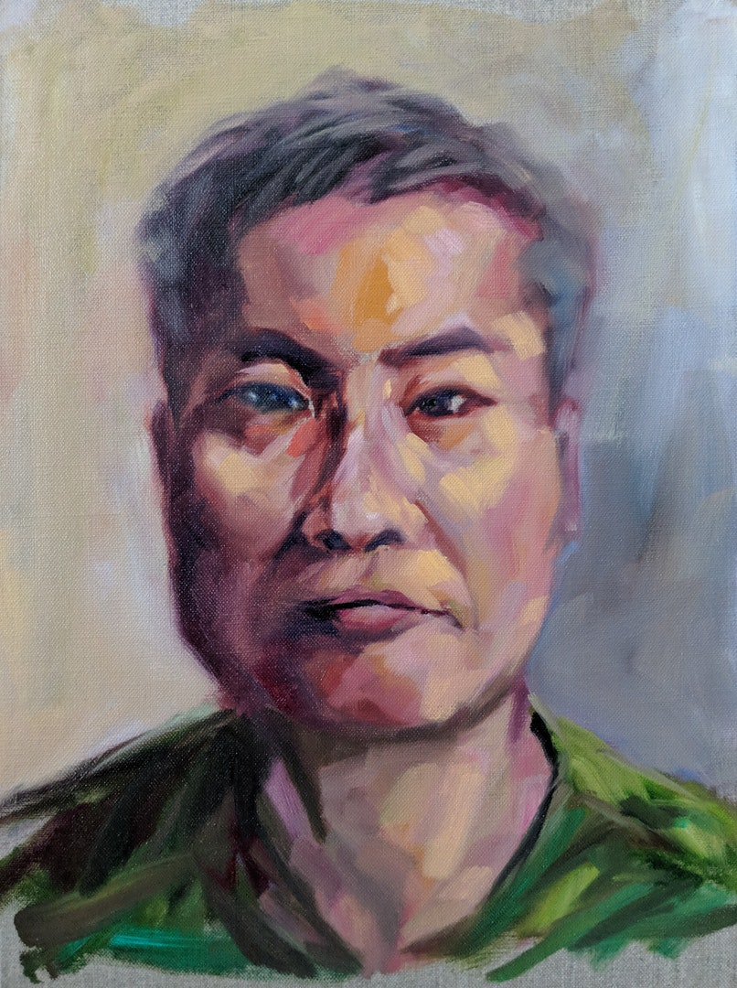 'Self Portrait', Calvin So, Oil on canvas panel, 40 x 30 cm