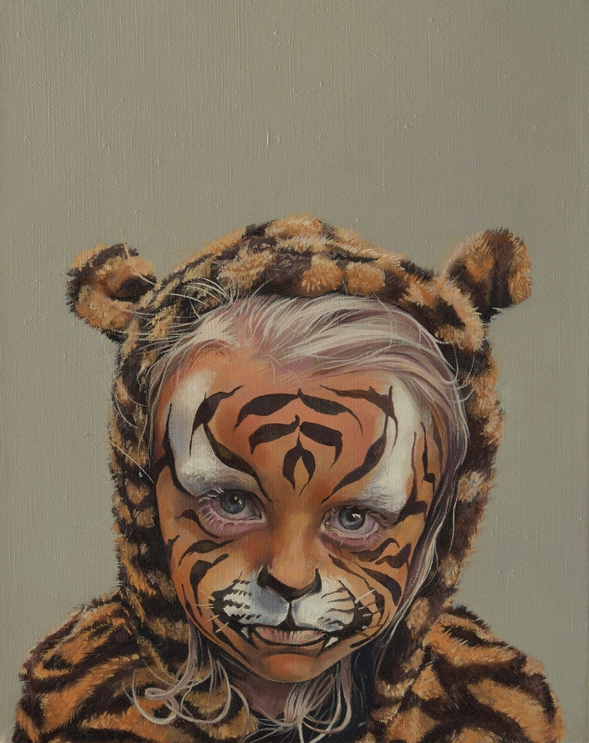 'Behind the Tiger Paint', Catherine MacDiarmid, Oil on canvas, 25 x 20 x 4 cm