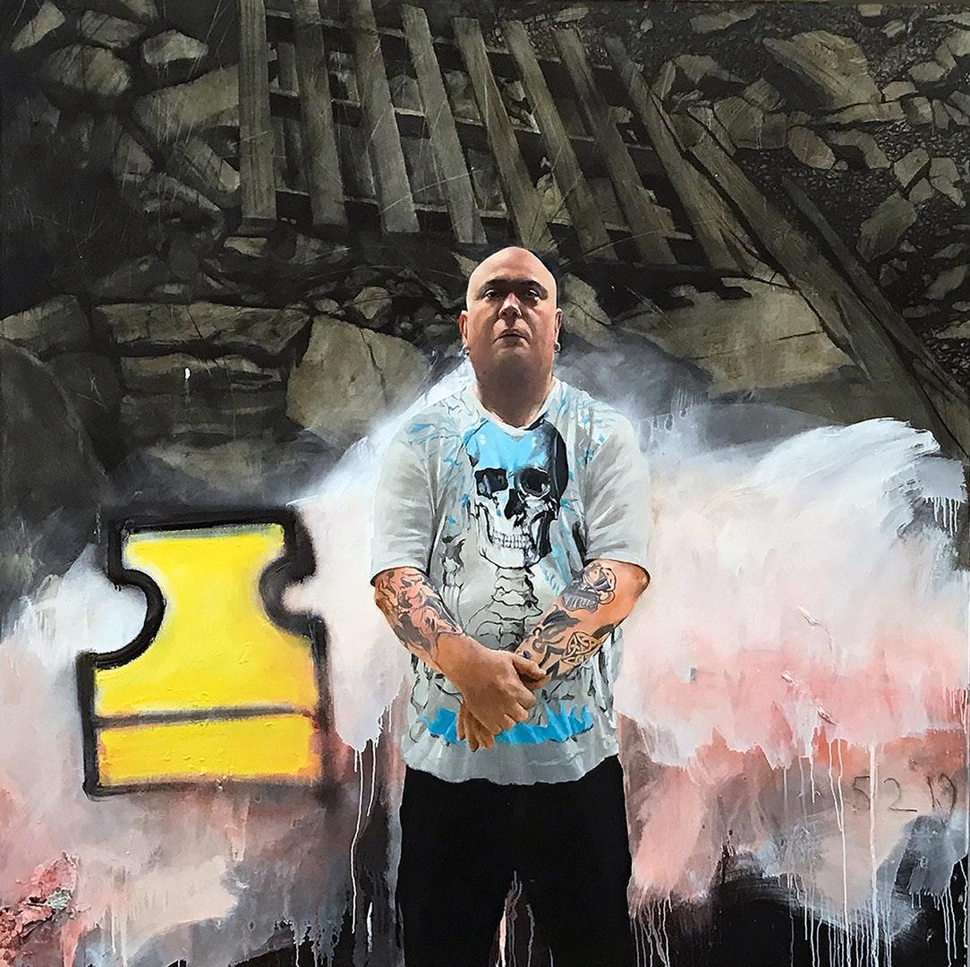 'The Revolution will be televised, Viva La Revolution', Chris Stevens, Oil on canvas, 180 x 180 cm