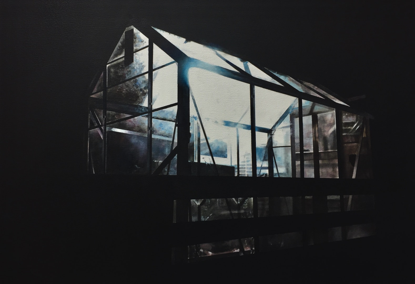 'Glass house', Christopher Campbell, Oil on canvas, 45 x 65 x 3 cm