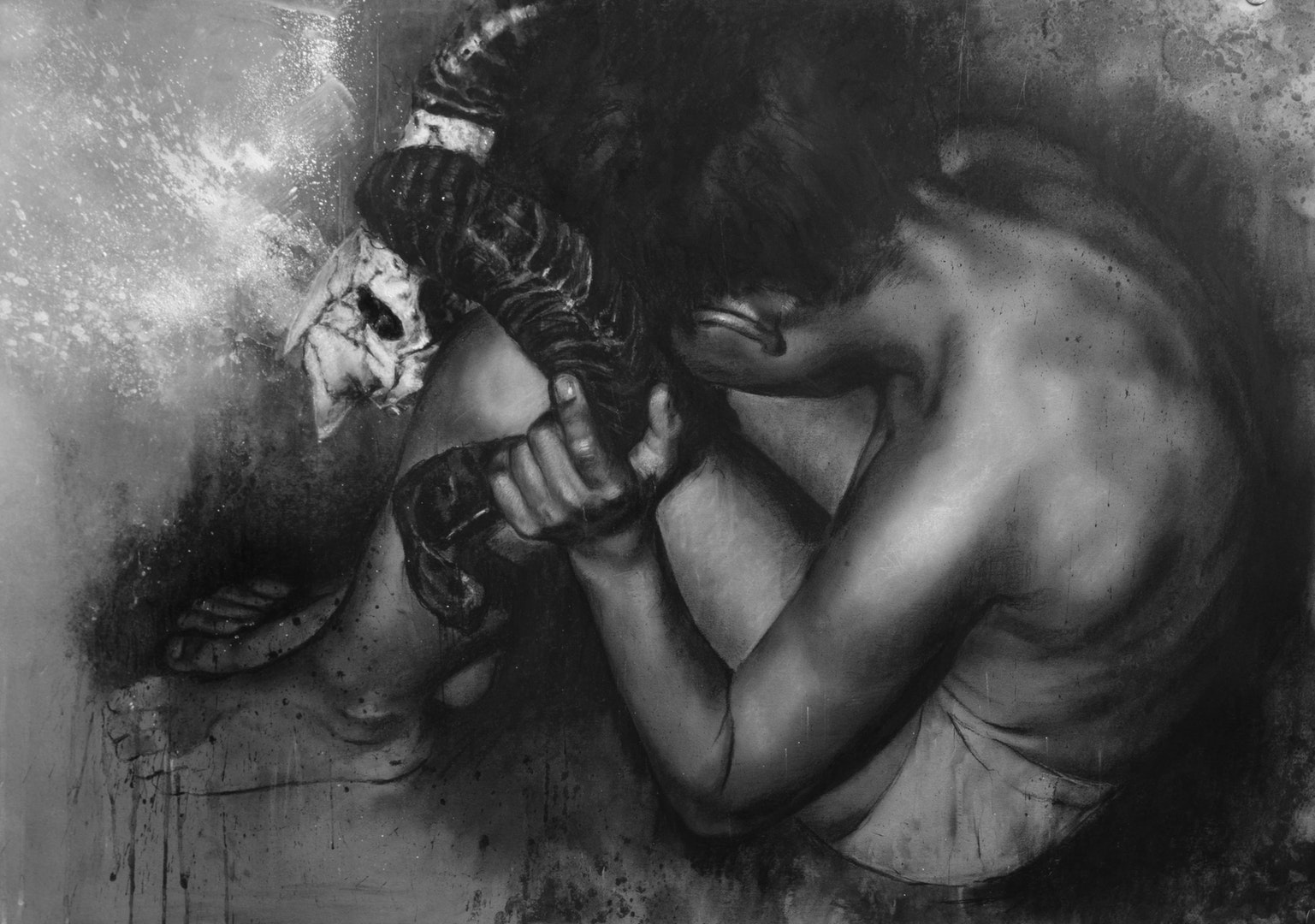 'Isaac envied the ram', Daniel Cooke, Charcoal and chalk on paper, 59 x 84 cm