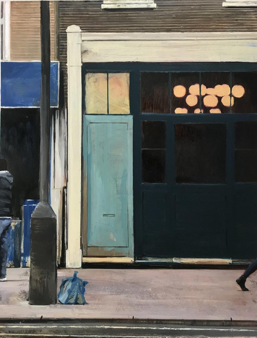 'Street painting 6', David Edmond, Oil on board, 61 x 48 cm