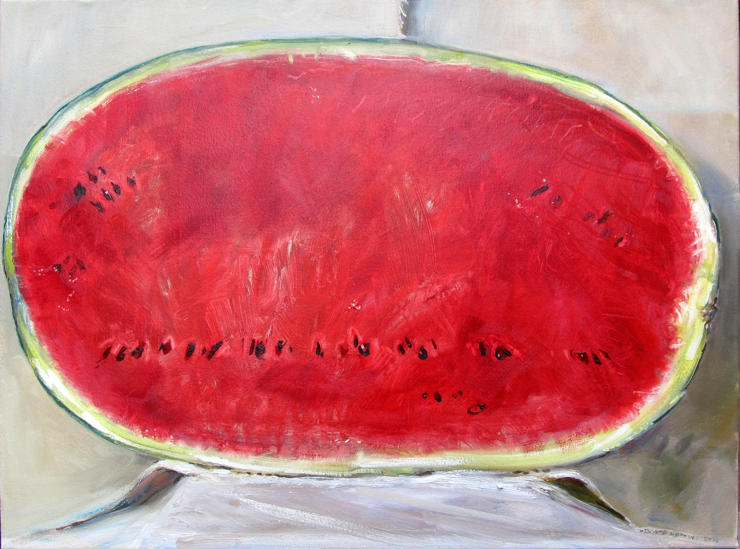 'Big Watermelon', David Hopkins, Oil on canvas, 60.5 x 80 x 4 cm