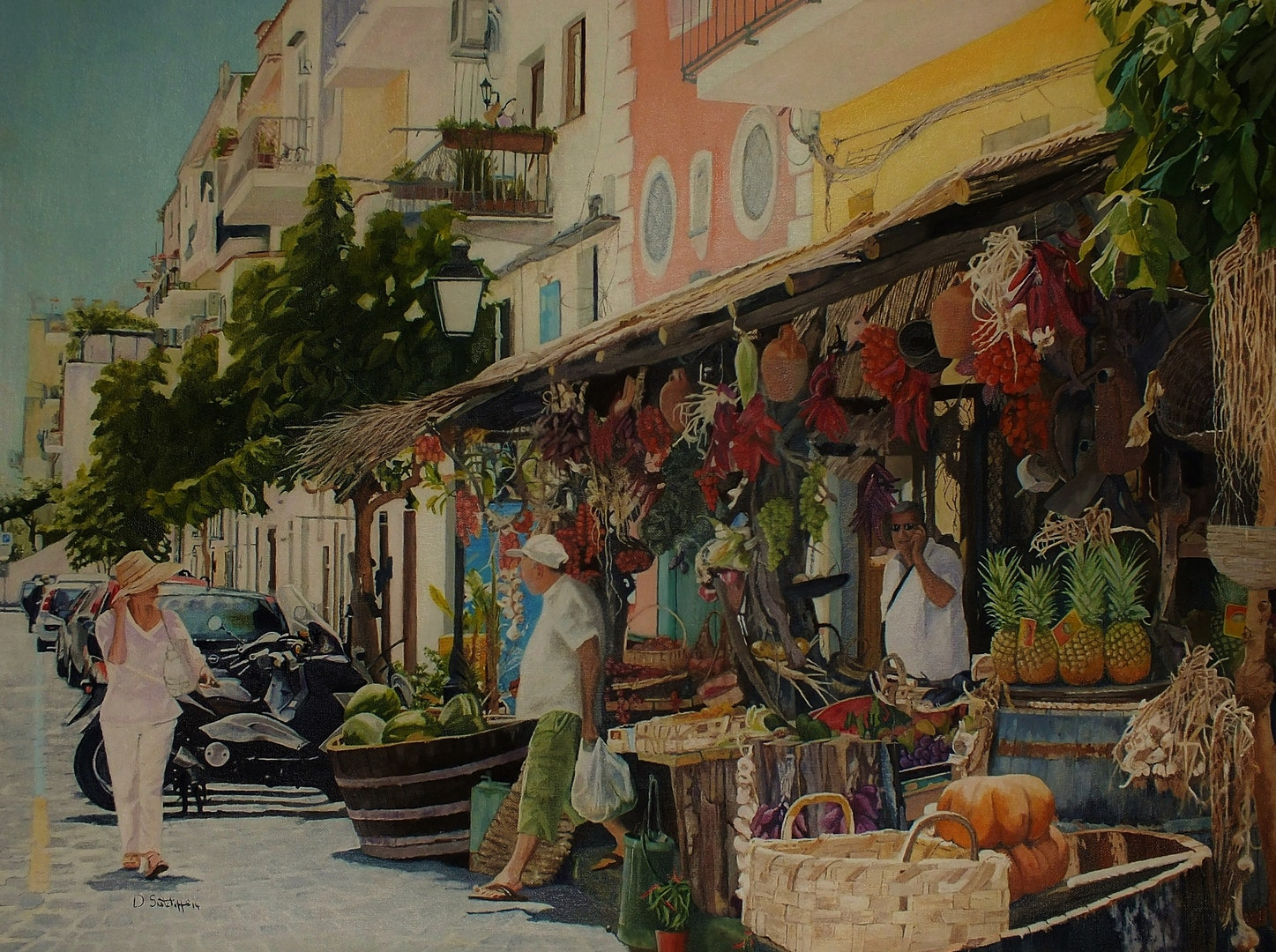 'Ischia town', David Sutcliffe, Oil on canvas, 60 x 80 cm