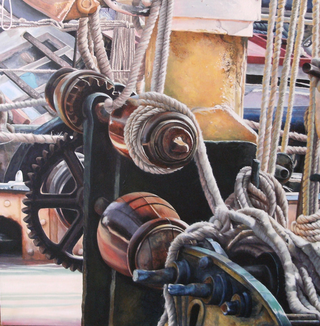 'Thames Barge Reminder', Denise Cliffen, Acrylic on canvas, 61 x 61 x 2 cm