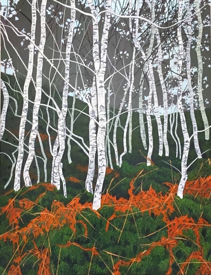 'Birches on Loch Katrine', Diana Ferguson, Acrylic on canvas, 90.5 x 70 x 2 cm