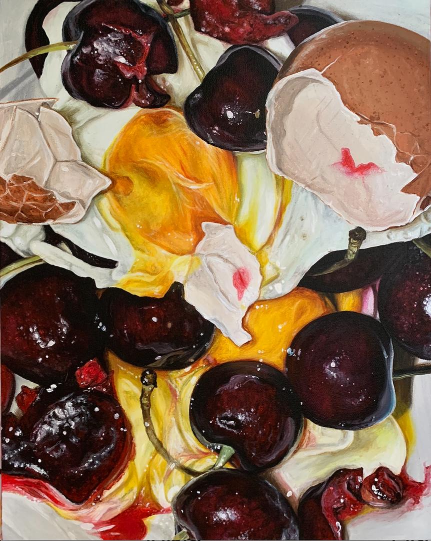 'Nostalgia Part 2', Emilia Symis, Acrylic and cherry fragrance oil on canvas, 40 x 50 cm