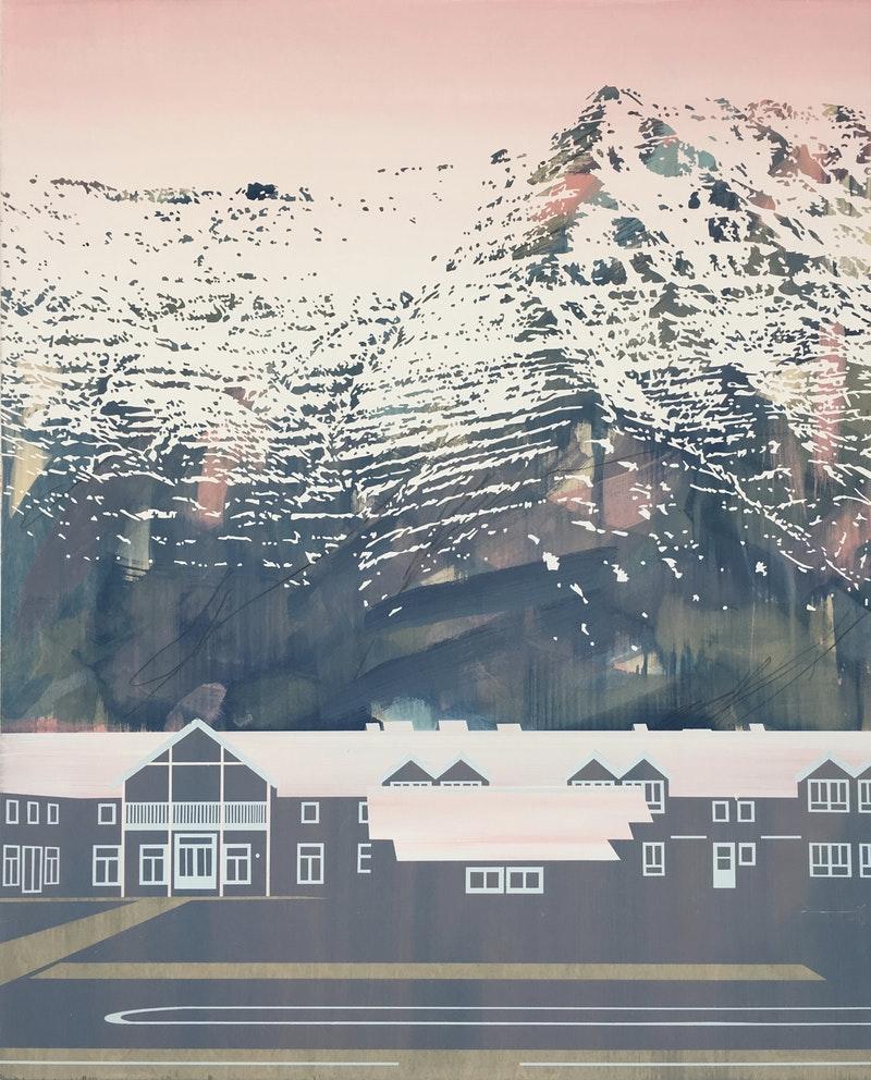 'Siglufjörður Glow', Emily Moore, Acrylic, gesso, graphite on panel, 123 x 101 x 2 cm