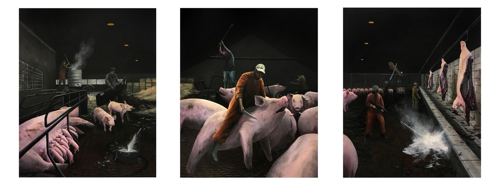 'Pig Farm', Esmond Loh, Acrylic on canvas, 152 x 366 x 2 cm
