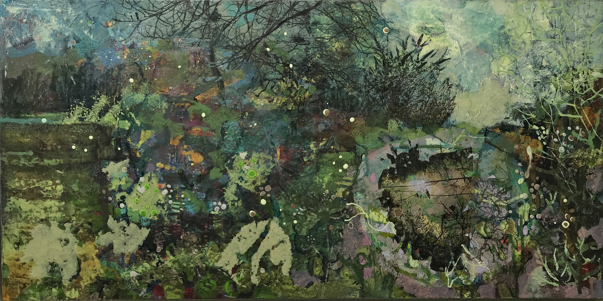 'January Culvert', Frances Ryan, Oil and collage on canvas, 40 x 80 x 2 cm