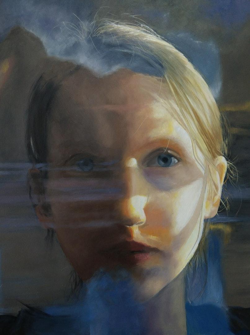 'Self portrait', Freya Hoayun, Oil on board, 30 x 23 x 0.5 cm