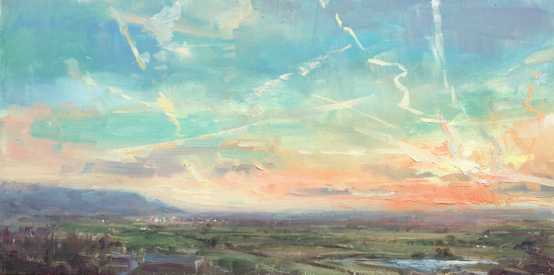 'From Callow Hill', Georgina Potter, Oil on board, 40 x 20.5 x 1 cm