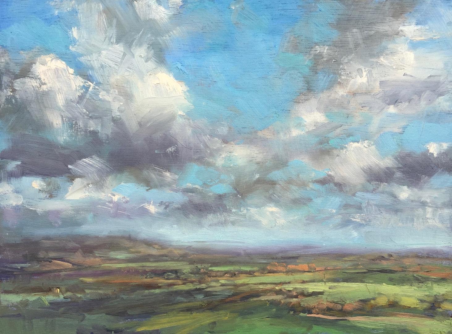 'Towards Cherhill', Georgina Potter, Oil on board, 23 x 30.5 x 1 cm