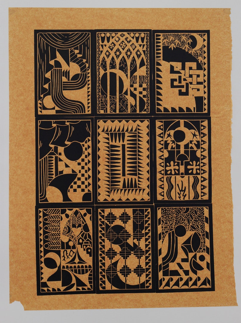 'Mosaic 1', Harry Ross-Masson, Lino cut and chine-collé, 84.1x 59.4 x 0.3 cm
