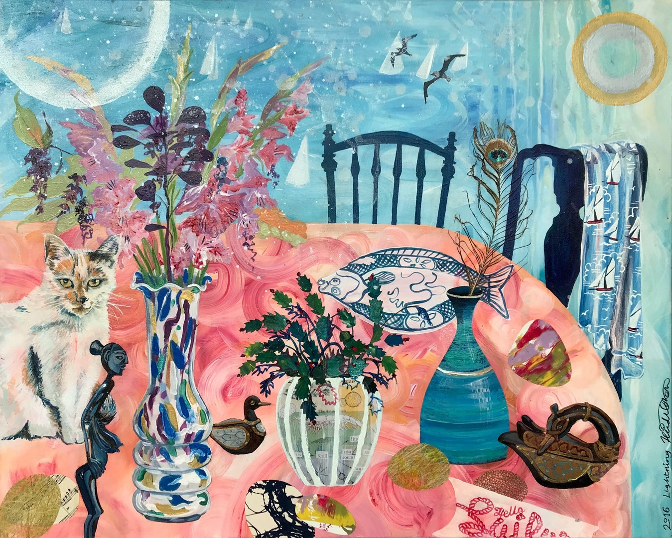 'Still Life Selfie Lightning', Heidi Cohen, Acrylic & collage on canvas, 91.5 x 81 cm