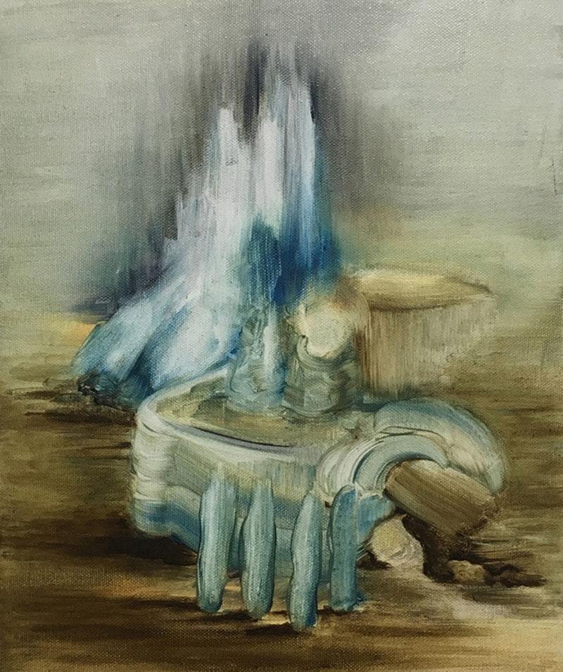 'Fictionscape (After Patinir)', Helen Bermingham, Oil on canvas, 30 x 25 x 2 cm