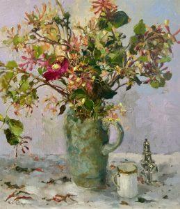 'Honeysuckle', Hilary Carr, Oil on board, 40 x 34 x 0.5 cm