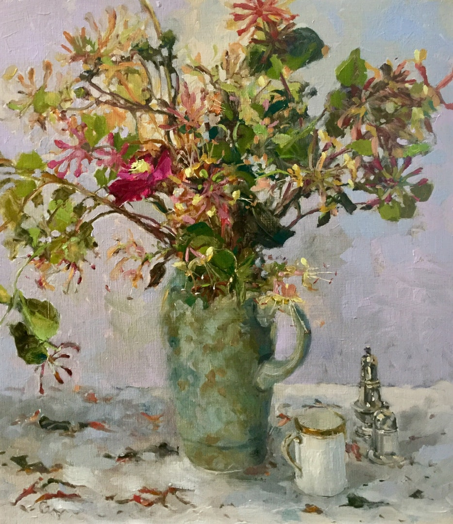 'Honeysuckle', Hilary Carr, Oil on board, 40 x 34 x 0.5 cm