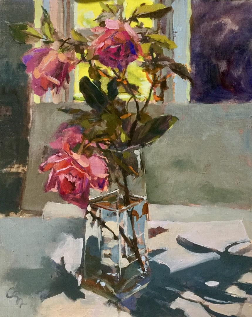 'November roses', Hilary Carr, Oil on board, 30 x 24 x 0.5 cm