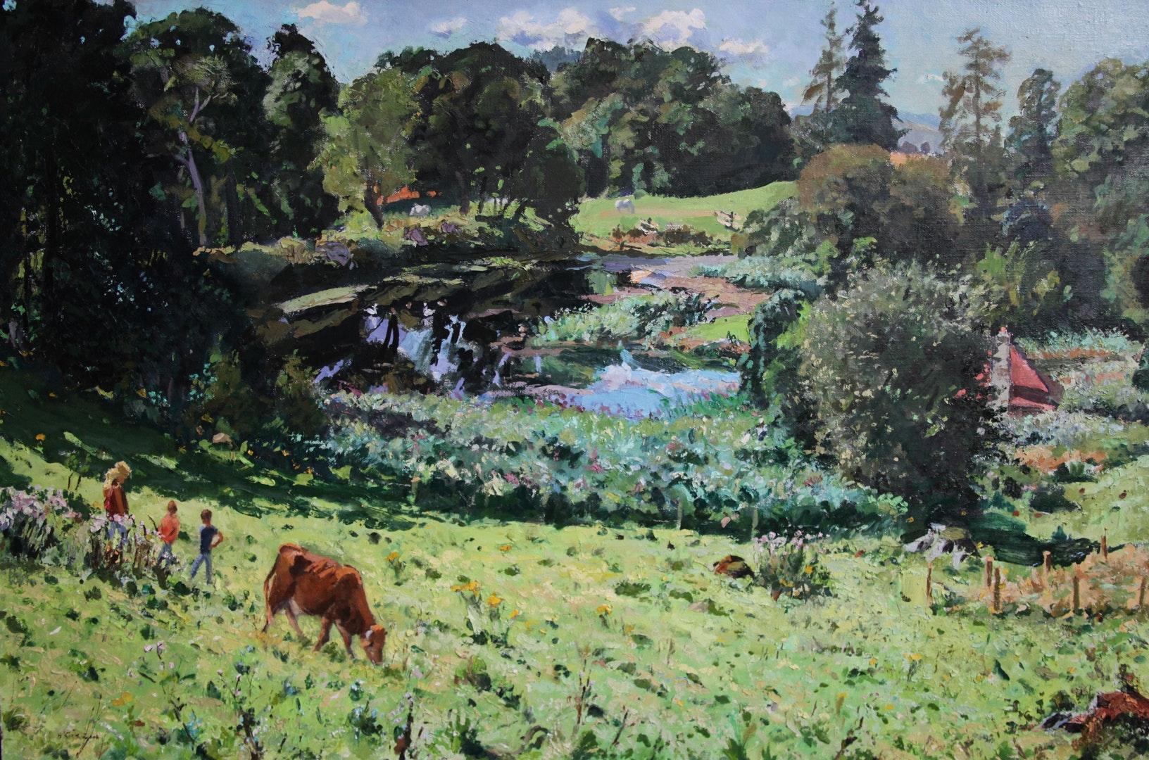 'High Summer', Hugh Kirkwood, Oil on canvas, 101 x 153 cm