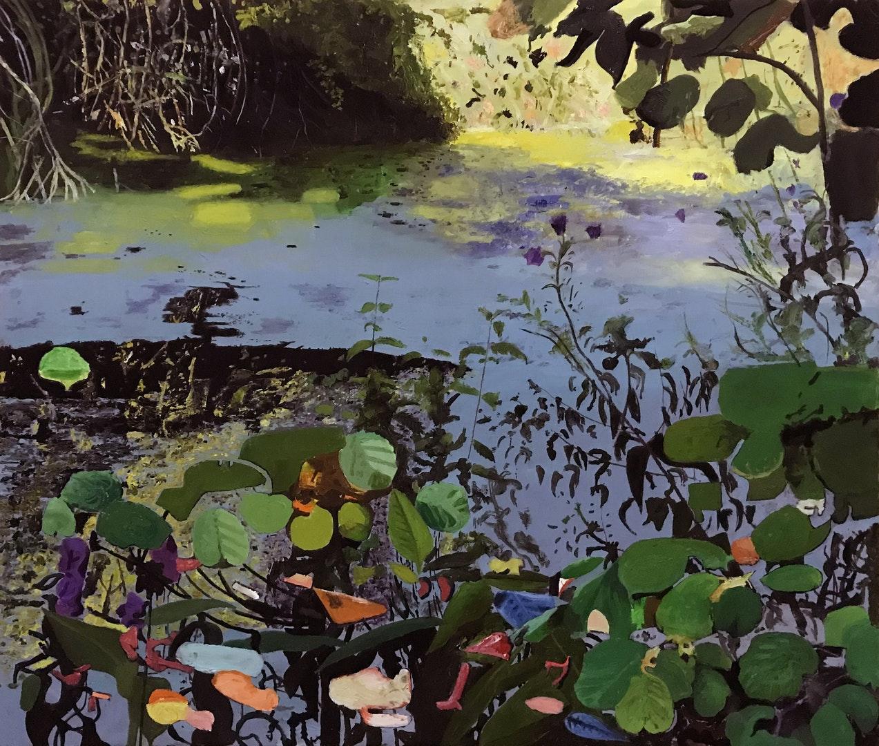 'Elsecar Canal', Iain Nicholls, Oil on canvas, 91 x 122 x 3 cm