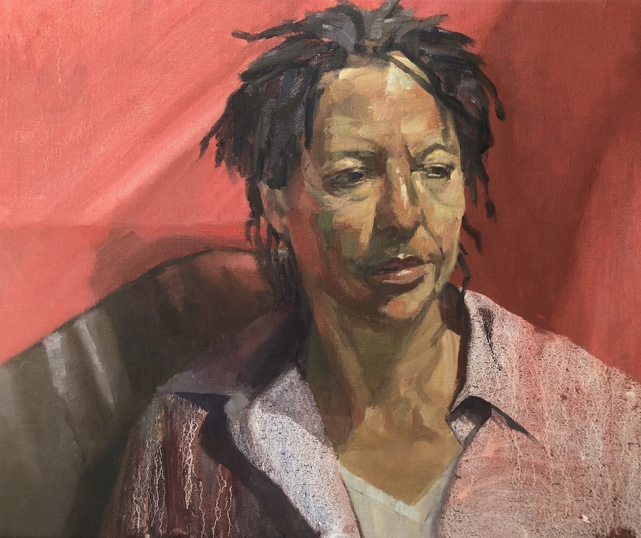 'Joanna and the Red Blanket', Ian Price, Oil on canvas, 51 x 61 x 2 cm