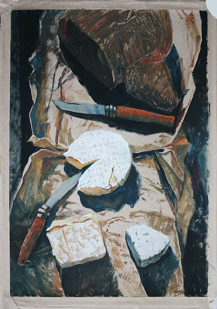 'Still-life with knives', Irina Bogdanova, Gouache on paper, 98 x 67 cm