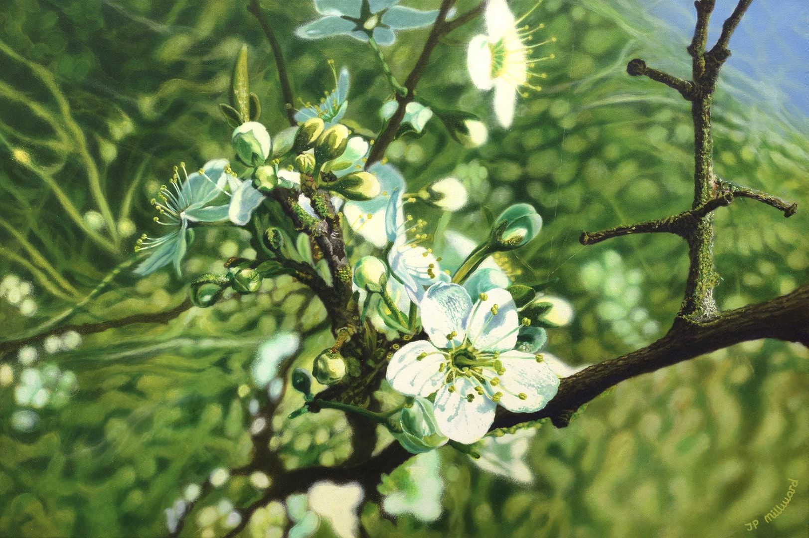 'Buds will burst', James Peter Millward, Golden open acrylics on stretched canvas, 90 x 60 cm