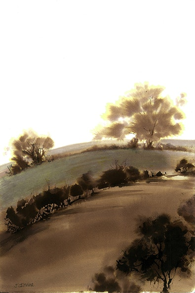 'Dream View', Jan Irvine, Sepia ink on paper, 48 x 37 cm
