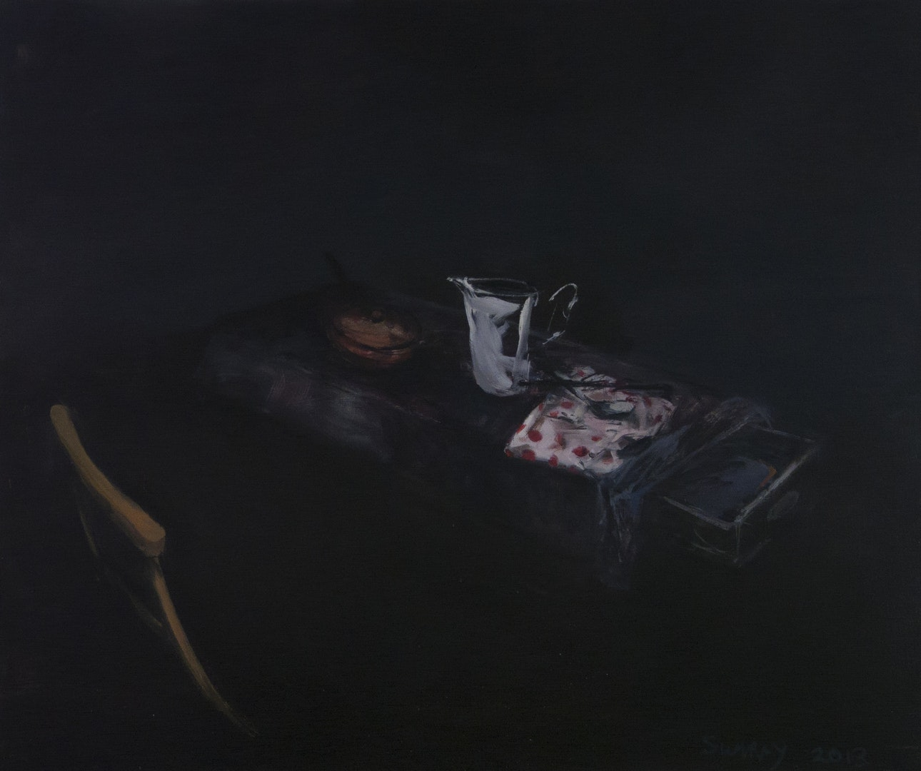 'Jug with Serviette & Open Drawer I', Jason Sumray, Oil on canvas, 105 x 122 x 2 cm