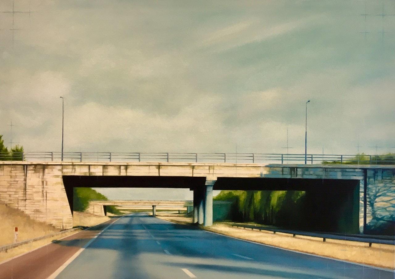 'A Bridge Too Far', Jen Orpin, Oil on canvas, 50 x 70 x 3.5 cm