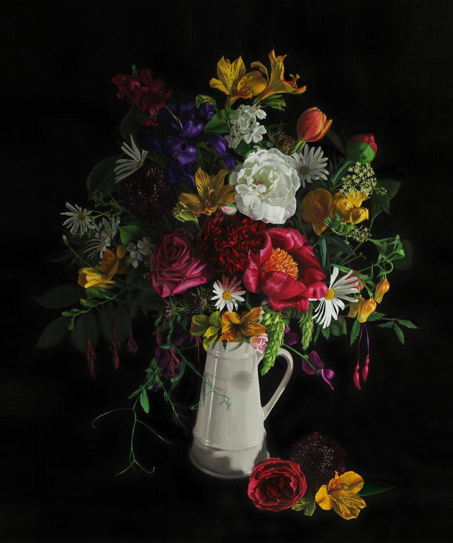 'Flemish Bouquet', Jo Kreyl, Oil on canvas, 120 x 100 x 3 cm