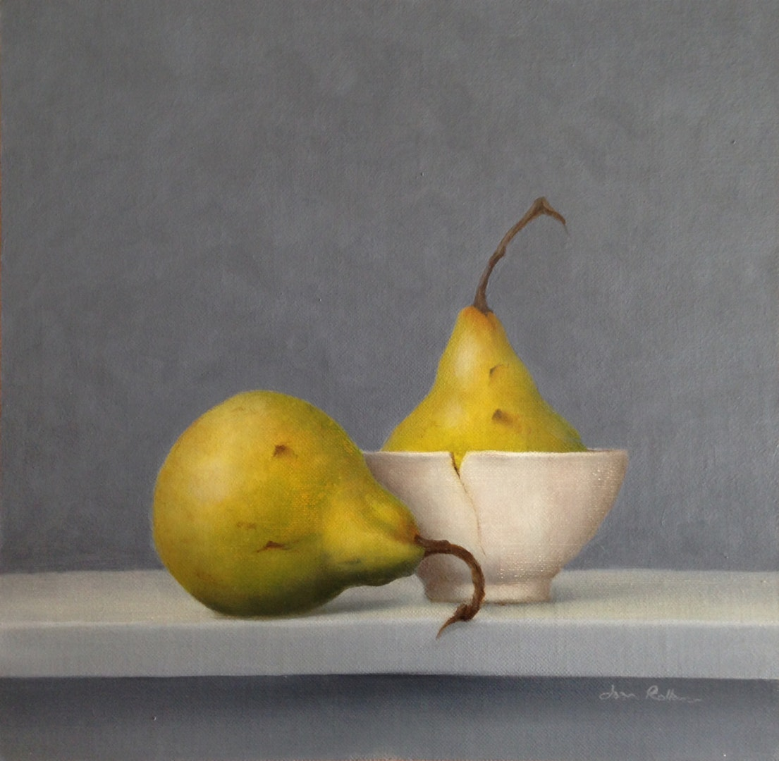 'Still Life with Pears', Joan Rollason, Oil on linen Board, 24 x 24 x 3 cm