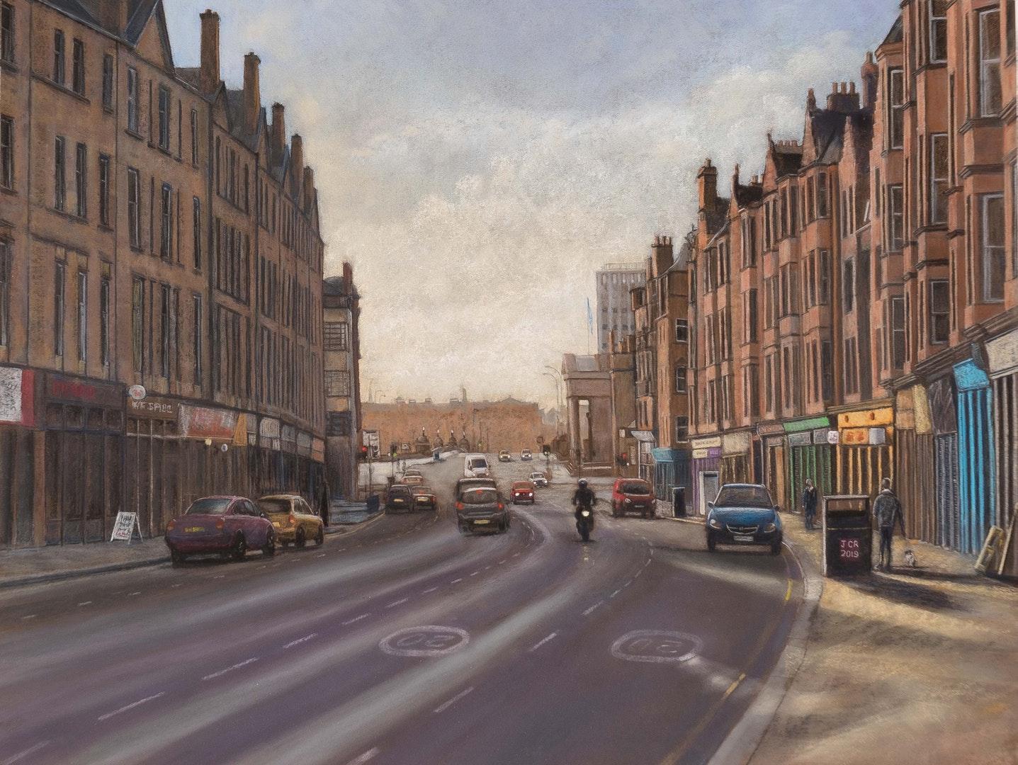 'The Saltmarket', John Rowland, Soft pastel on paper, 46 x 60 x 3 cm