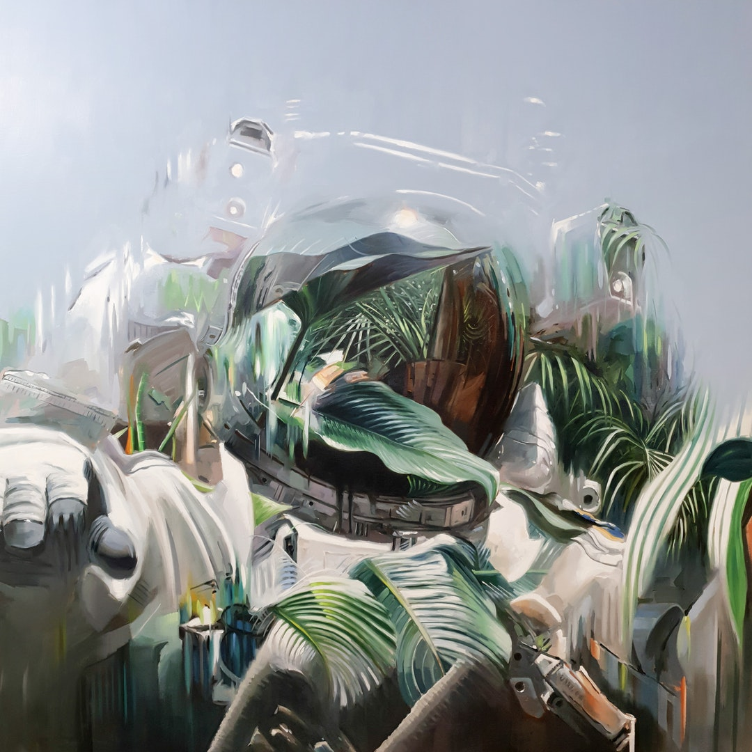 'The future will be green, or not at all', Johnny Morant, Oil on canvas, 130 x 130 x 5 cm