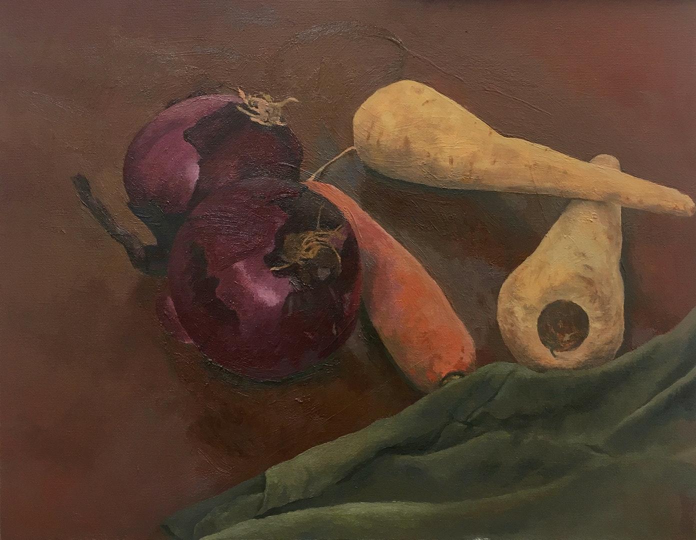 'Still Life of vegetables', Jonathan Farningham, Oil on board, 24 x 30 x 0.5 cm