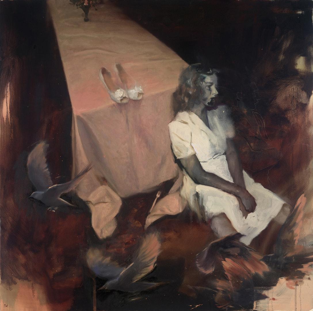 'A Year of Soft Conversation', Joshua Flint, Oil on canvas, 91 x 91 x 4 cm