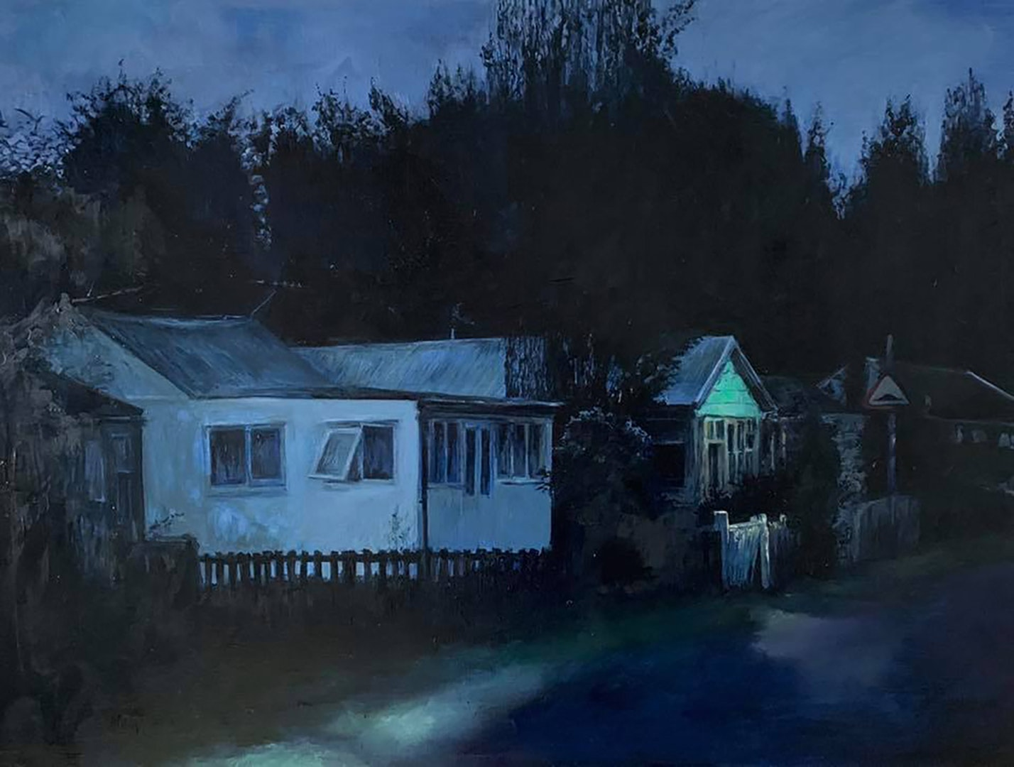 'Do not park on the grass verge', Judith Tucker, Oil on linen, 60 x 80 x 4 cm