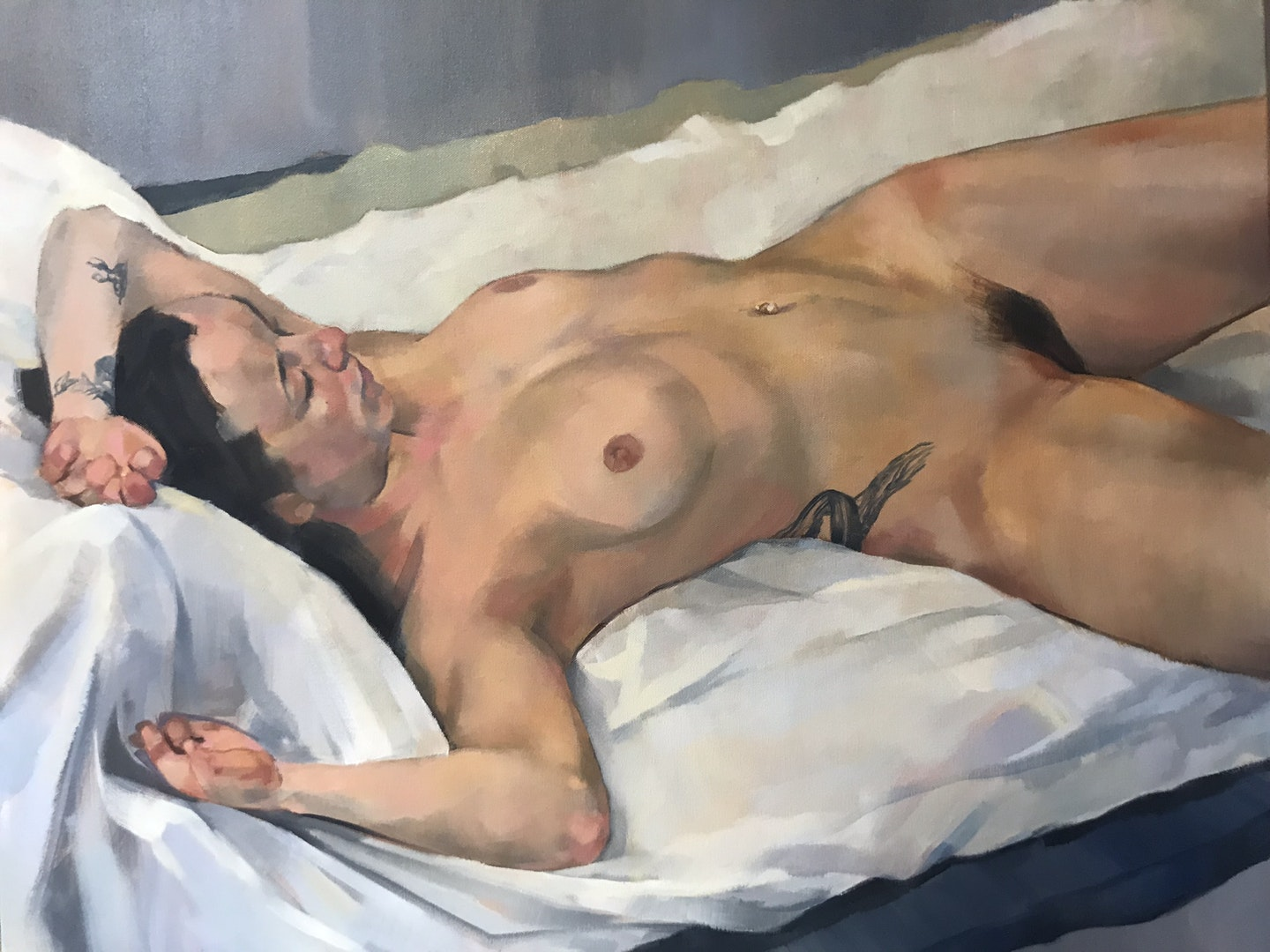 'female nude', Julia Page, Oil on canvas, 60 x 77 x 2 cm