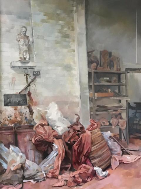 'Studio Interior', Julia Page, Oil on hardboard, 140 x 45 cm