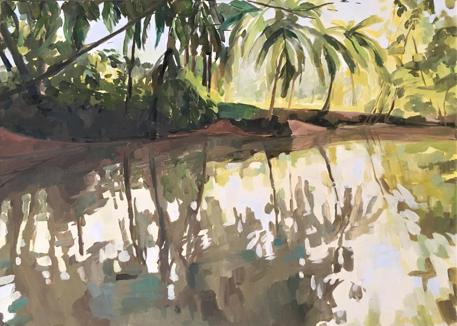 'Mangroves near Quepos', Costa Rica, Katharine Rowe, Oil on canvas, 70 x 50 x 2 cm
