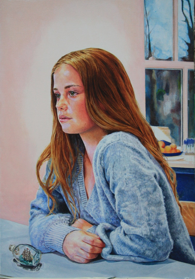 'Freya', Kaye Hodges, Acrylic on canvas, 54 x 36 x 3 cm