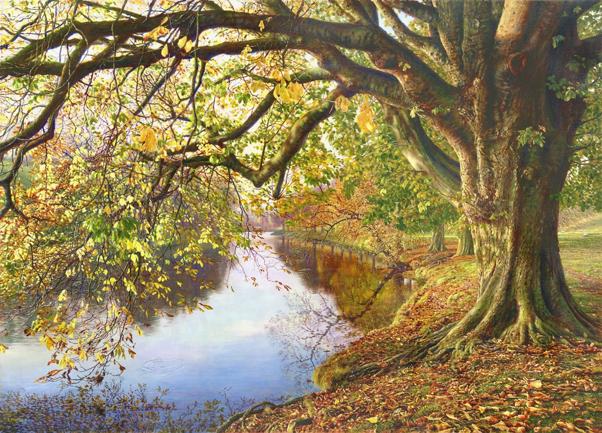 'Autumn, River Wharfe, Yorkshire Dales', Keith Melling, Oil on canvas, 67 x 92 x 2.5 cm