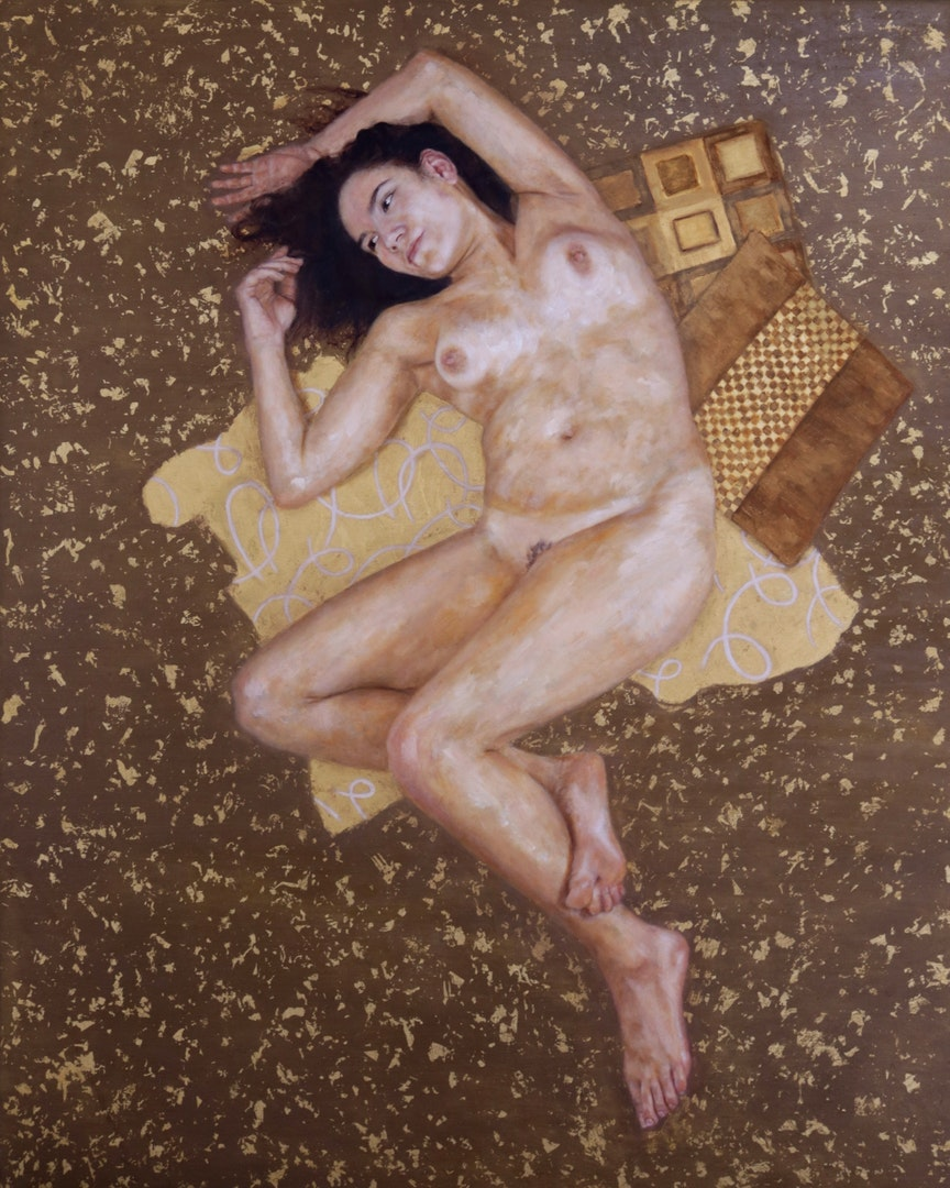 'Nude', Liam Dunne, Oil and gold leaf on canvas, 150 x 120 x 3 cm