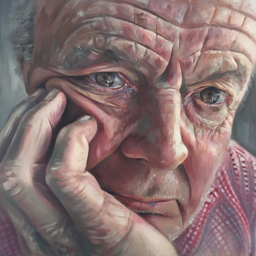 'A portrait of my Dad', Libby Dillon, Oil on canvas, 60 x 60 x 4 cm